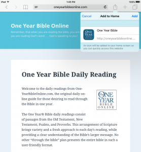 One Year Bible Online - Add To Home Screen